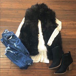 Black Faux Fur Vest Small